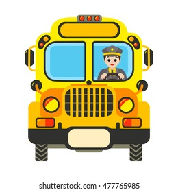 Cartoon yellow school bus with driver isolated on white  background