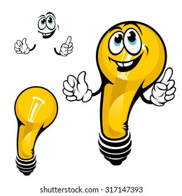 Cartoon yellow shining light bulb character with happy smile, for great idea concept or save energy theme design