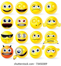 Cartoon Yellow Smiley Balls with positive and negative emotions, gestures, poses - detailed vector set for your design