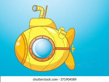 A cartoon yellow submarine under water vector. A submarine is a watercraft capable of independent operation underwater. It differs from a submersible, which has more limited underwater capability.