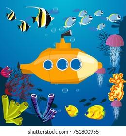 Cartoon yellow submarine underwater. Submarine background with fish