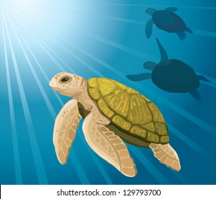 Cartoon yellow turtles swimming on a blue sea background