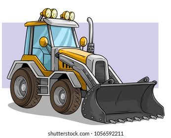 Cartoon yellow wheel front loader bulldozer or tractor with big shovel. On violet background. Vector icon.
