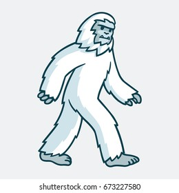Cartoon yeti monster illustration. White hairy beast drawing.