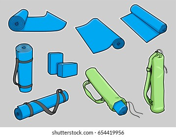 Cartoon yoga mat in a variety of poses, including straps, bag, and foam bricks. Gray background on separate layer for easy editing & removal.