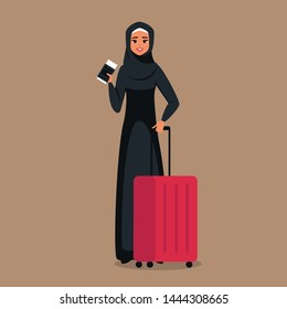 Cartoon young arab woman stands with tickets and luggage for travel. Vector illustration isolated from background