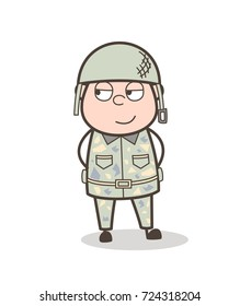 Cartoon Young Army Officer Smiling Face Vector Illustration
