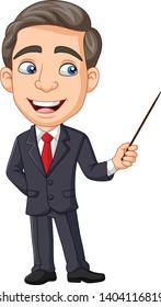Cartoon young businessman presenting with a pointer