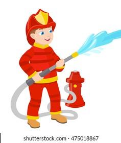 cartoon young fireman vector illustration