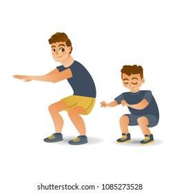 Cartoon young kid boy and adult man in athletic clothing doing squat, quadriceps muscle workout exercises. Active lifestyle male character doing sport. Isolated vector background illustration