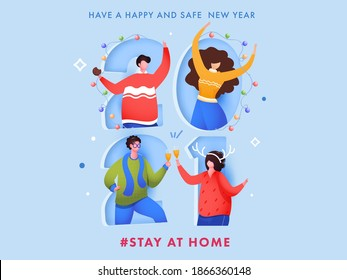 Cartoon Young Man And Woman Celebrating New Year Party On Paper Cut 2021 Number Background For Avoid Coronavirus, Stay At Home.