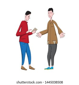 Cartoon young men discuss financial issues. Lender shows debt on smartphone and debtor turns out his pockets.