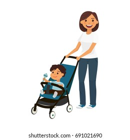 Cartoon young mother with boy in perambulator, vector flat illustration