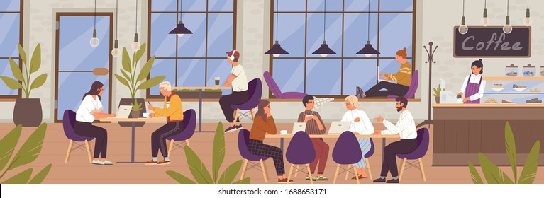Cartoon young people communicating and working at modern coffeehouse vector flat illustration. Man, woman and group of people sitting on table use laptop at cafe. Coworking office with cafeteria