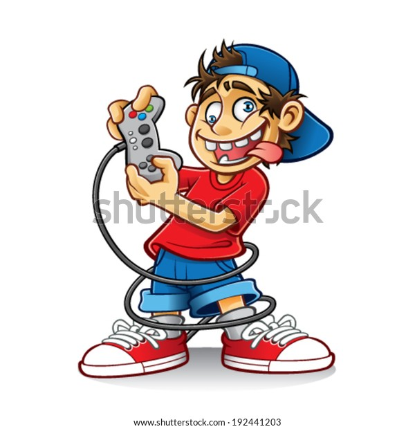 Cartoon Young People Playing Games Crazy Stock Vector Royalty Free 192441203