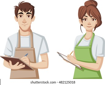 Cartoon young people wearing apron. Workers holding clipboards.