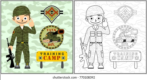 cartoon of young soldier with armored vehicle on camouflage background, coloring book or page
