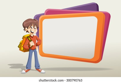 Cartoon young student boy with backpack in front of big screen.