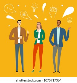Cartoon young workers set. People talking and laughing. Including doodle elements. Brainstorm illustration for your design.