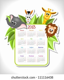 cartoon zebra, elephant, giraffe and lion with calendar 2013 - vector illustration