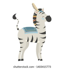 Cartoon zebra indian. Vector illustration of a cute zebra in a headdress with feathers. Drawing animal for children. Zoo for kids.