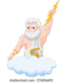 Cartoon zeus holding thunderbolt
