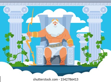 Cartoon Zeus. Legendary god character of Ancient Greek mythology on Olympus mountain. Vector mythology illustration Zeus with thunder and lightning in clouds on mount. Pantheon of gods