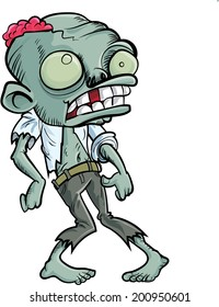 Cartoon zombie with a big head. Isolated on white