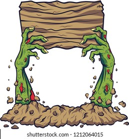 Cartoon zombie hand holding wooden board