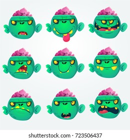 Cartoon zombie head  emotion set. Illustrations collection isolated on white background. Halloween avatars and mask simple gradient. Vector.