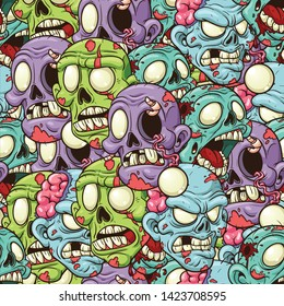 Cartoon zombie heads seamless pattern. Vector illustration with simple gradients. All in a single layer. \r
