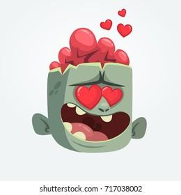 Cartoon zombie in love. Halloween vector illustration