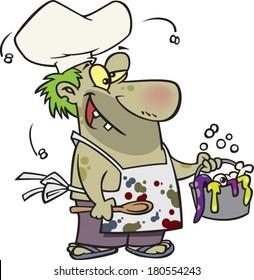 cartoon zombie man cooking gross food