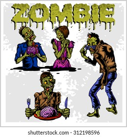 Cartoon zombie. Set of color drawings of zombies.