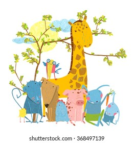 Cartoon Zoo Friends Animals Group. Funny zoo and farm animals sitting together under the tree. Vector illustration.