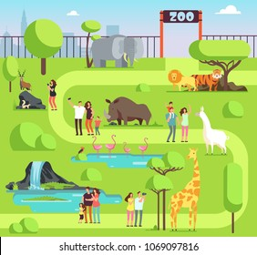 Cartoon zoo with visitors and safari animals. Happy families with kids in zoological park vector illustration. Family with kids in zoo, giraffe and elephant