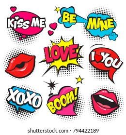 Cartoon,Comic Speech Bubbles, Love Dialog Clouds with Halftone Dot Background in Pop Art Style for Valentine Day. Love Vector Illustration for Comics Book, Social Media Banners, Promotional Material