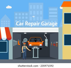Cartooned Car Repair Garage  with Signage  Graphic Design with Repairman, Car and Set of Tools