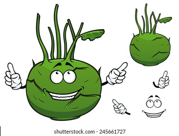 Cartooned fresh green vegetable kohlrabi cabbage with cheerful smiling face and stalks for healthy nutrition concept and food design