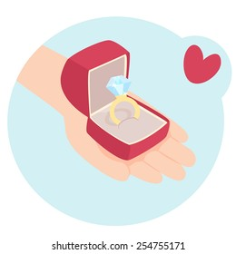 Cartooned Graphic Design of a Human Hand with a Red Box of Diamond Ring on a Sky Blue Background with Red Heart.