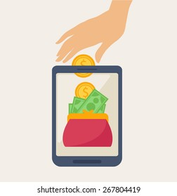 Cartooned Mobile Banking Concept Graphic Design with Hand Deposing Money on a Wallet Inside a Phone on a Light Brown Background.