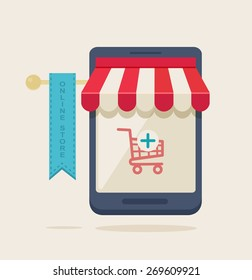 Cartooned Online Store Concept Graphic Design with Grocery Cart on Mobile Phone Store, Isolated on a Very Light Brown Background.