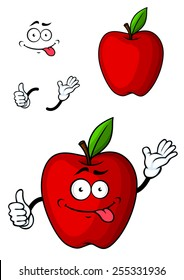 Cartooned red apple fruit character with funny face and hands