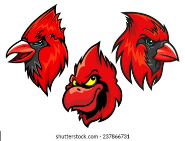 Cartooned red cardinal birds heads for sport team mascot or tattoo design