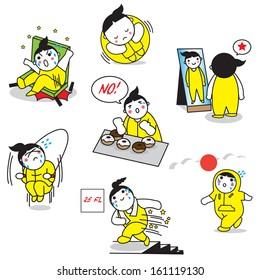 Cartoonish character on diet illustration