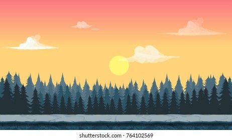 Cartoonish game forest background with sunrise.