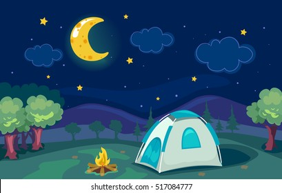 Cartoonish Illustration of a Mountain Camp with a Tent with a Good View of the Moon and the Stars
