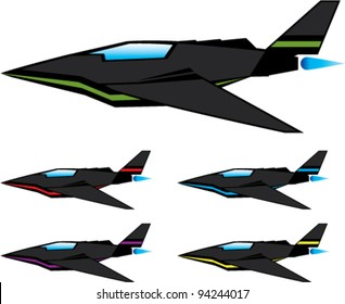 Cartoonish Logo-like Jet stealth airplane