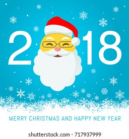 A cartoonish vector illustration for a 2018 New Year best wishes Greeting Card With a smiling santa claus emoji with christmas hat in place of 2018 zero.