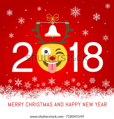 a cartoonish vector illustration for a 2018 new year best wishes greeting card with an emoji